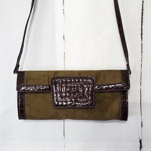 Sondra Roberts Squared Embossed Leather Clutch Bag